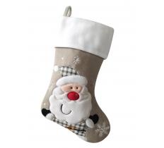 silver White top Santa Christmas Stocking